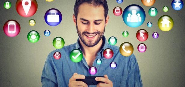 man using smartphone social media application